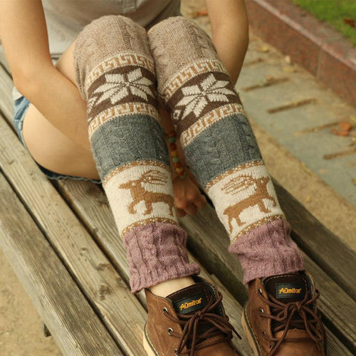 Female Girls Deer Snow Stuplen Women Gaiter Boot Socks