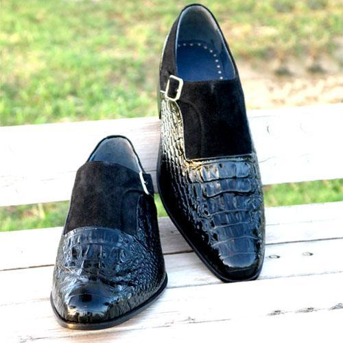 Handmade Crocodile Pattern Luxury Designer Strap Shoes