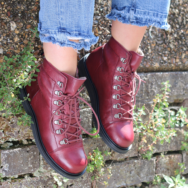 Platform Round Toe Lace-Up Vintage Ankle Boots