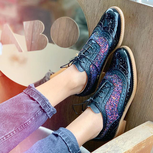 Woman Low-Heeled Lace-Up Casual Single-Shoes