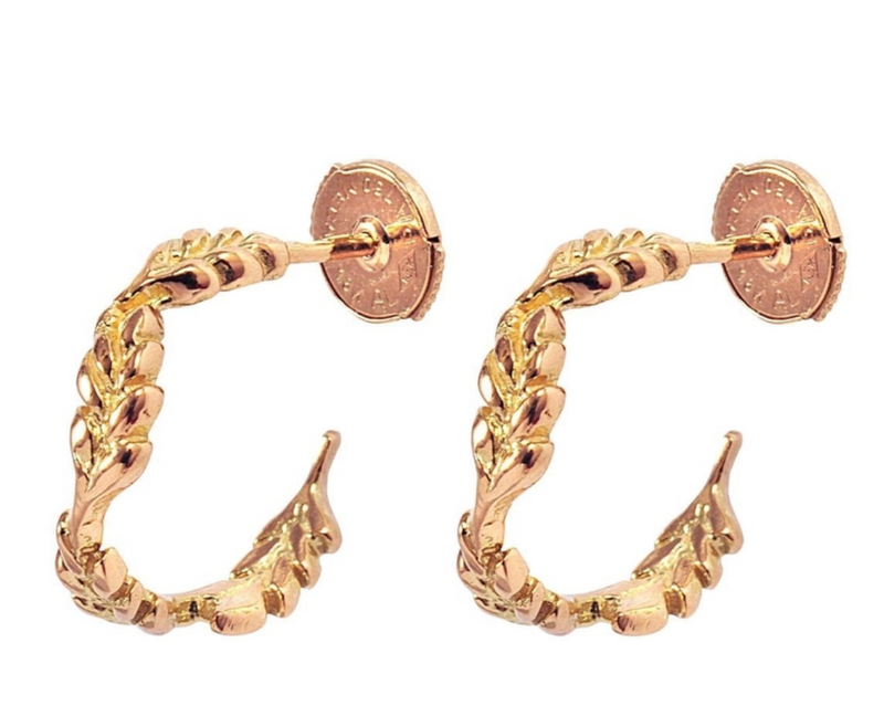 Gold Mini Wheat Hoop Earrings