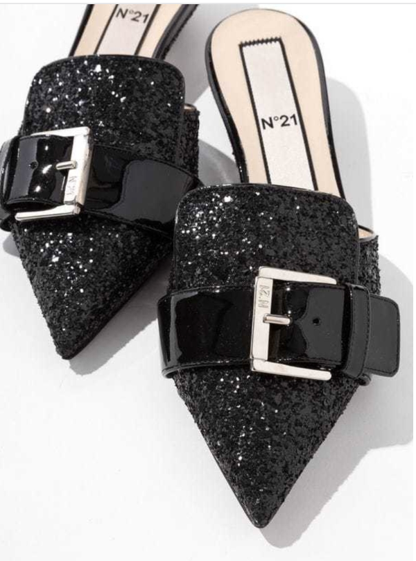 Glitter Pointed Mules