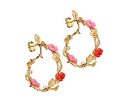 Mini Flower Whirl Earrings Bubble Pink/Coral