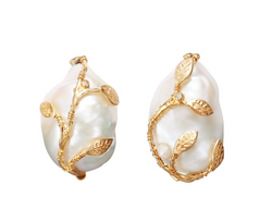 Hedera Pearl Clip Earrings Pearl/Diamond/Gold