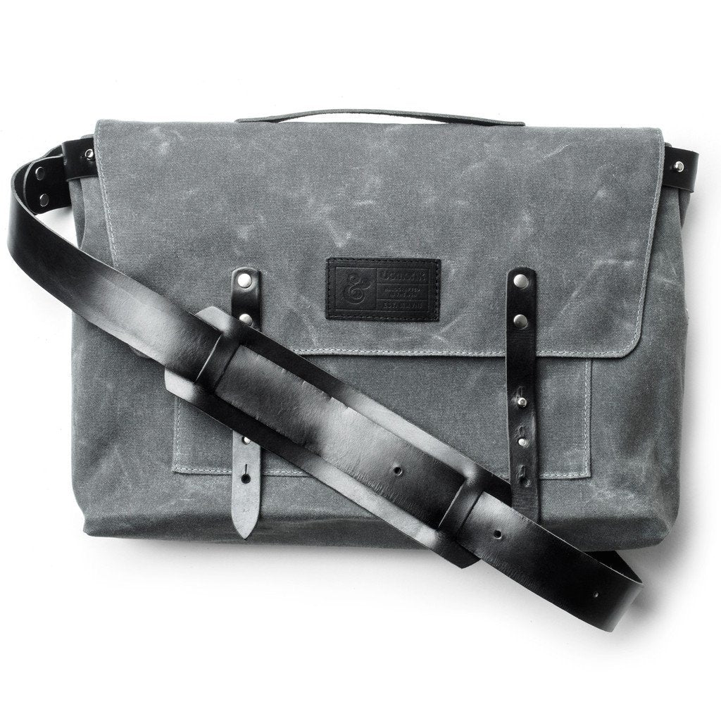 Waxed Canvas Messenger Bag Charcoal