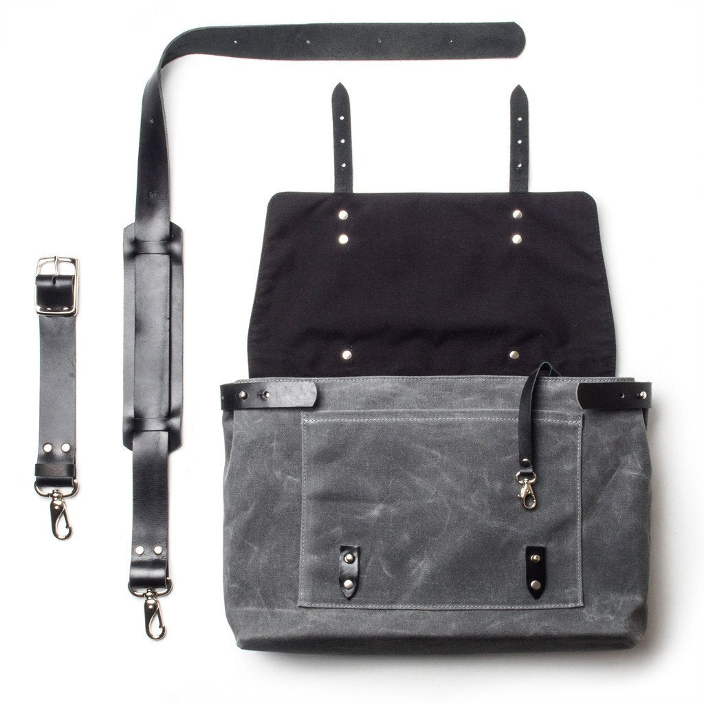 Waxed Canvas Messenger Bag Black
