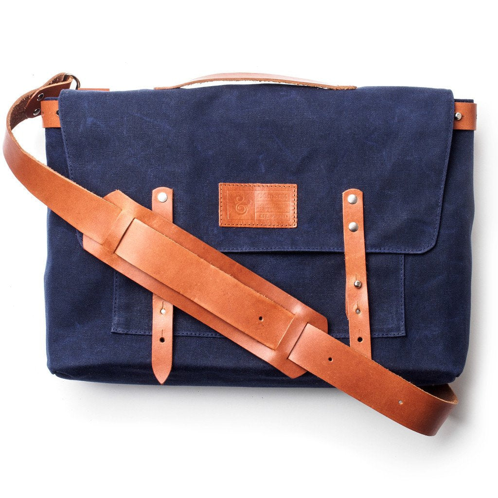 Waxed Canvas Messenger Bag Navy