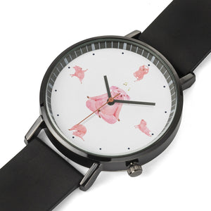 Posing Yoga with Faux Leather Band Watch - 4 LONELY PIGGIES