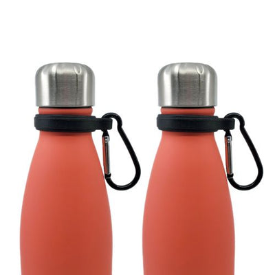 Close up of two 17oz water bottles with a Silicone Carrier with Carabiner Clip attached