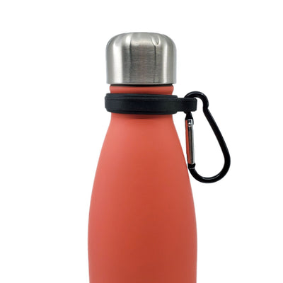 Close up of Silicone Carrier with Carabiner Clip attached to a 17oz water bottle