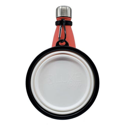 Silicone travel pet bowl attached to a stainless steel water bottle with included silicone carrier and carabiner clip