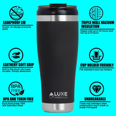 **NEW** 20oz Triple Insulated Stainless Steel Tumbler with Screw-On Lid - Coral