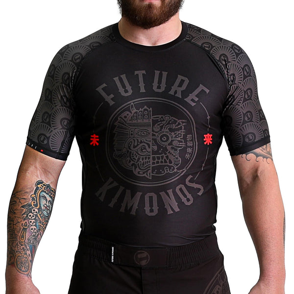 FUTURE HYBRID - Black Short Sleeve Rash Guard