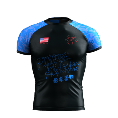 UNDER DAWG - BLUE SHORT SLEEVE RASH GUARD