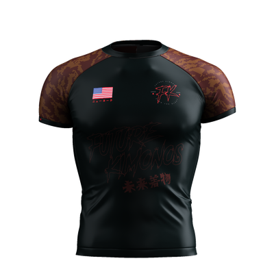 UNDER DAWG - BROWN SHORT SLEEVE RASH GUARD