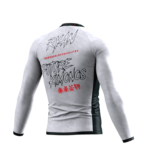 UNDER DAWG - WHITE LONG SLEEVE RASH GUARD