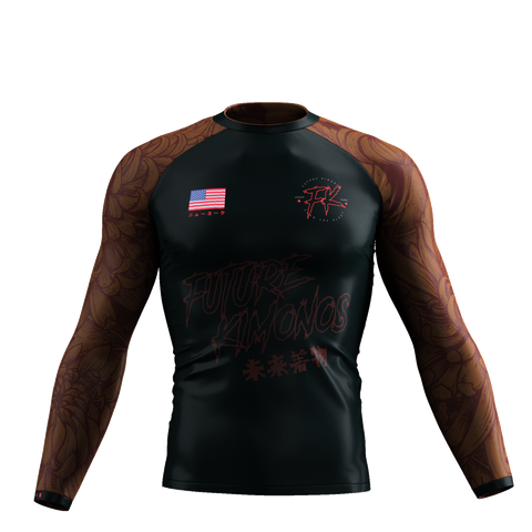 UNDER DAWG - BROWN LONG SLEEVE RASH GUARD