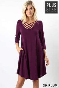 Plus Size Plum Dress w/ Pockets