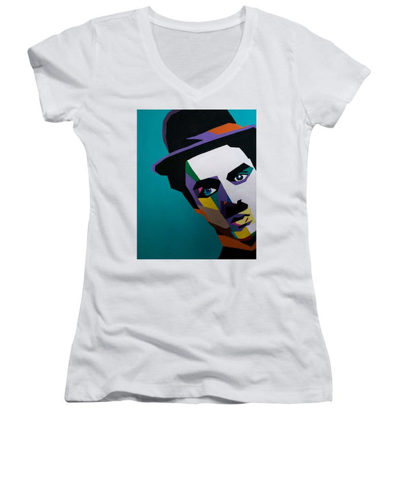 Charlie Chaplin - Women's V-Neck (Athletic Fit)