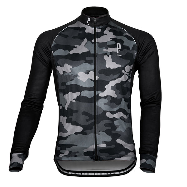 Wood Camo Long Sleeve Thermo Cycling Jersey