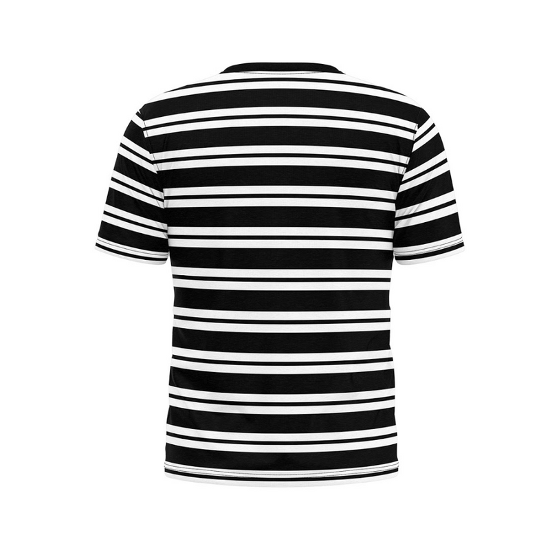 Black And White Striped Cycling Tee