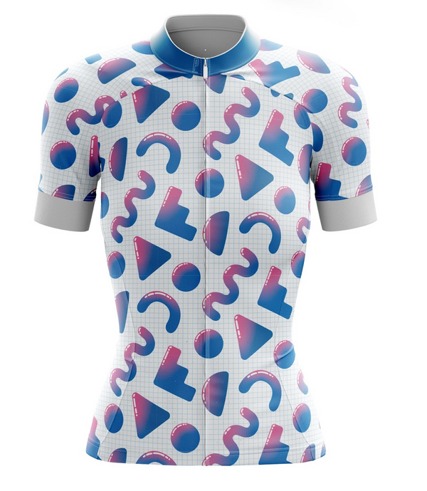 90s Geo Print Women's Cycling Jersey