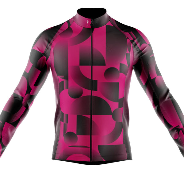 Xanthe Colab Geo Print Long Sleeve Winter Cycling Jersey-PARIA.CC