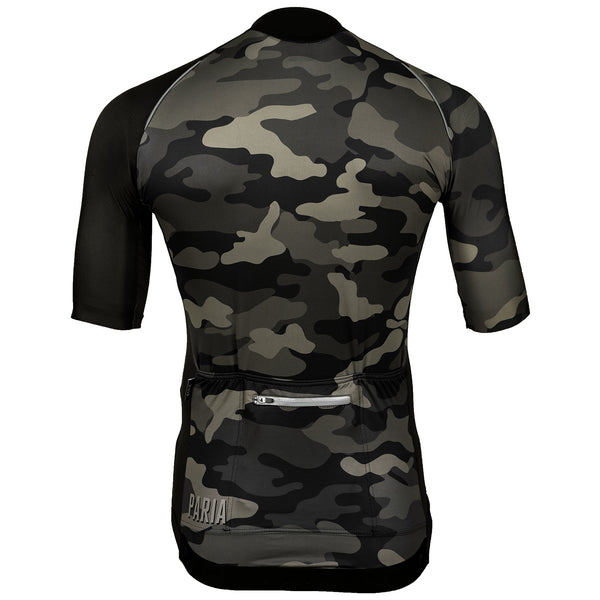 PRIA Wood Camo ADR Jersey, laser cut sleeves, 3/4 sleeves, aero fit, slim fit cycling jersey, aero fit cycling jersey, wood camo, camo cycling jersey