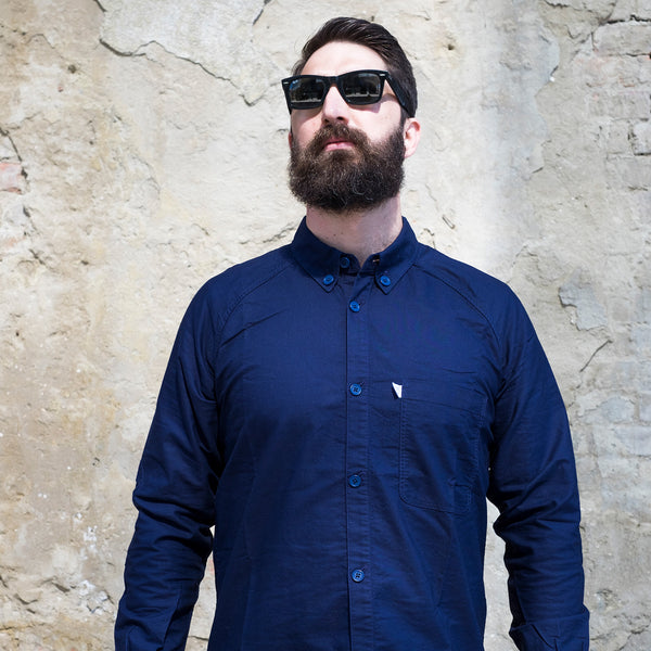 Navy Oxford Cycling Shirt