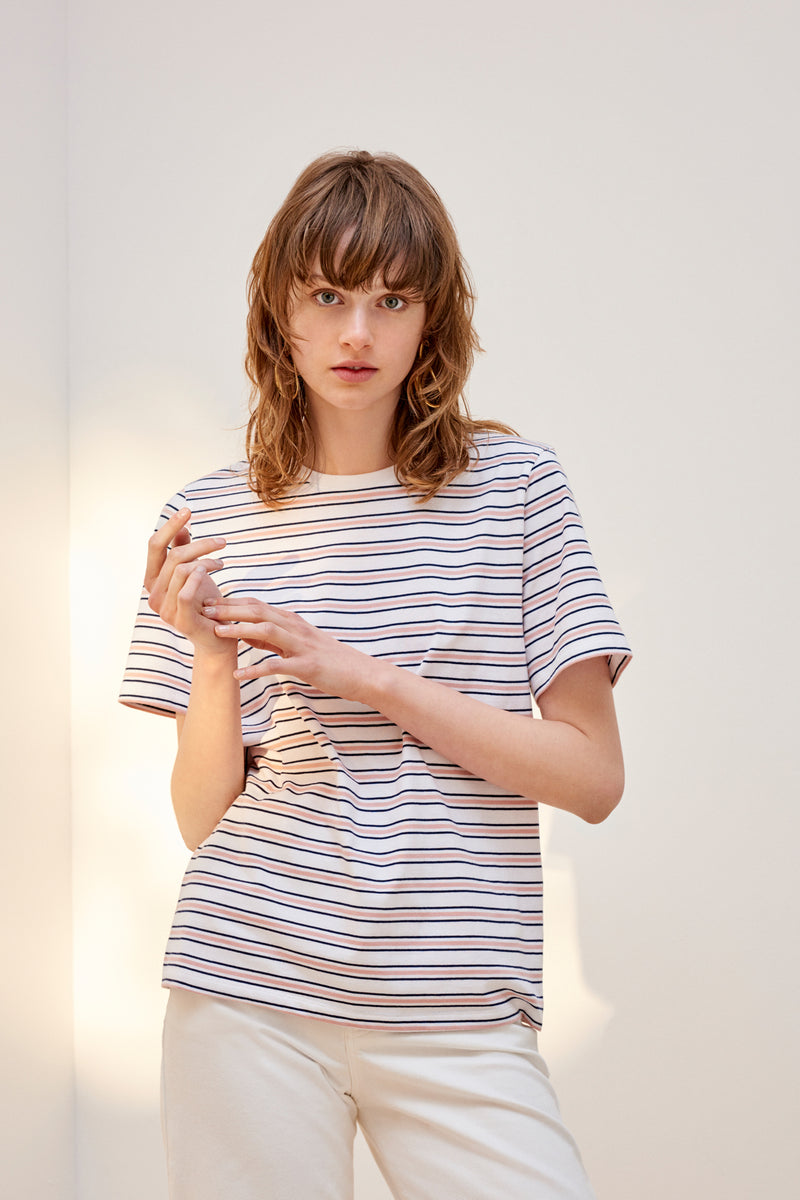 Building Block Classic Fit Tee, Rose Navy Stripe