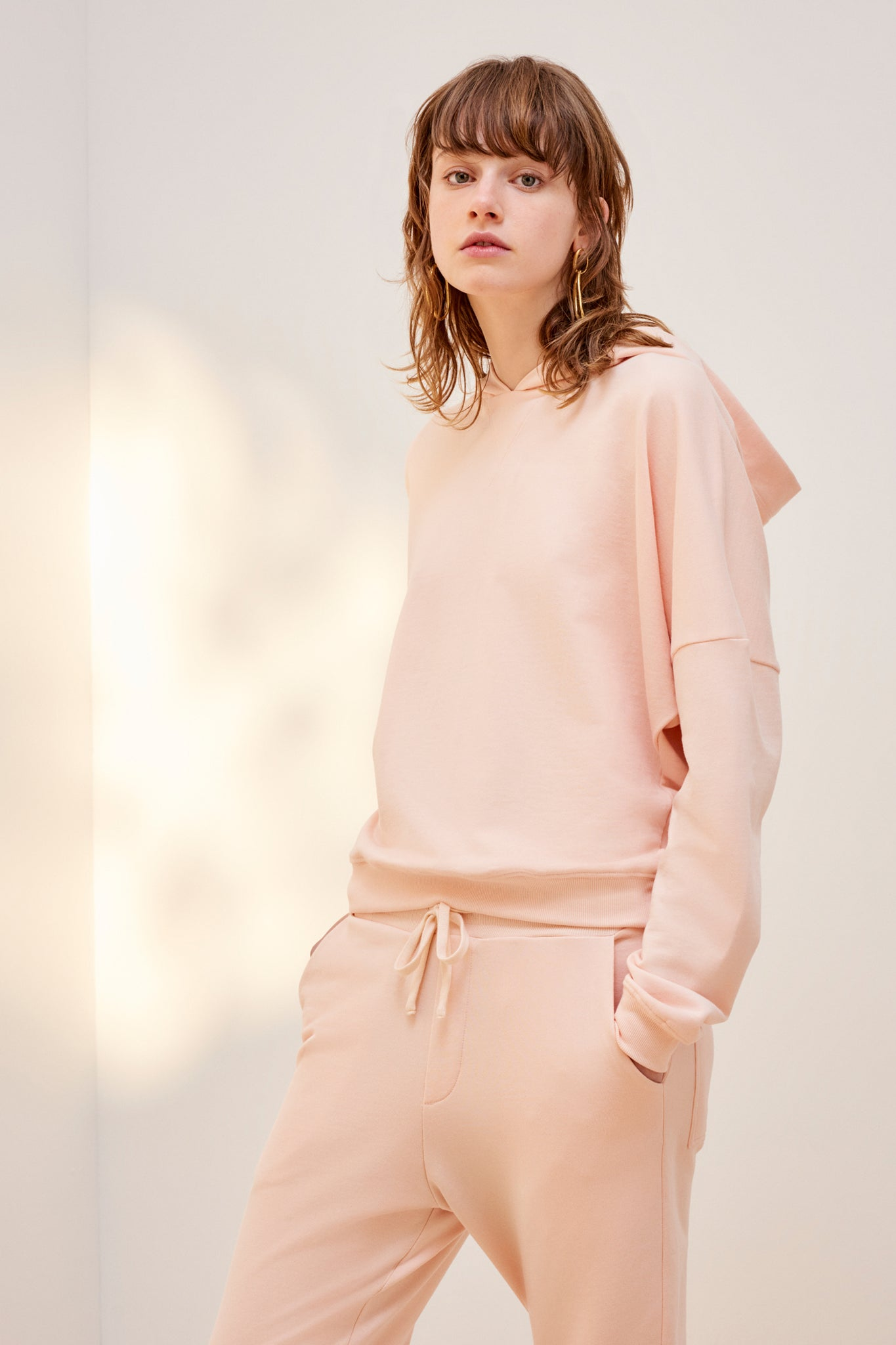 Building Block Hooded Sweater, Light Pink
