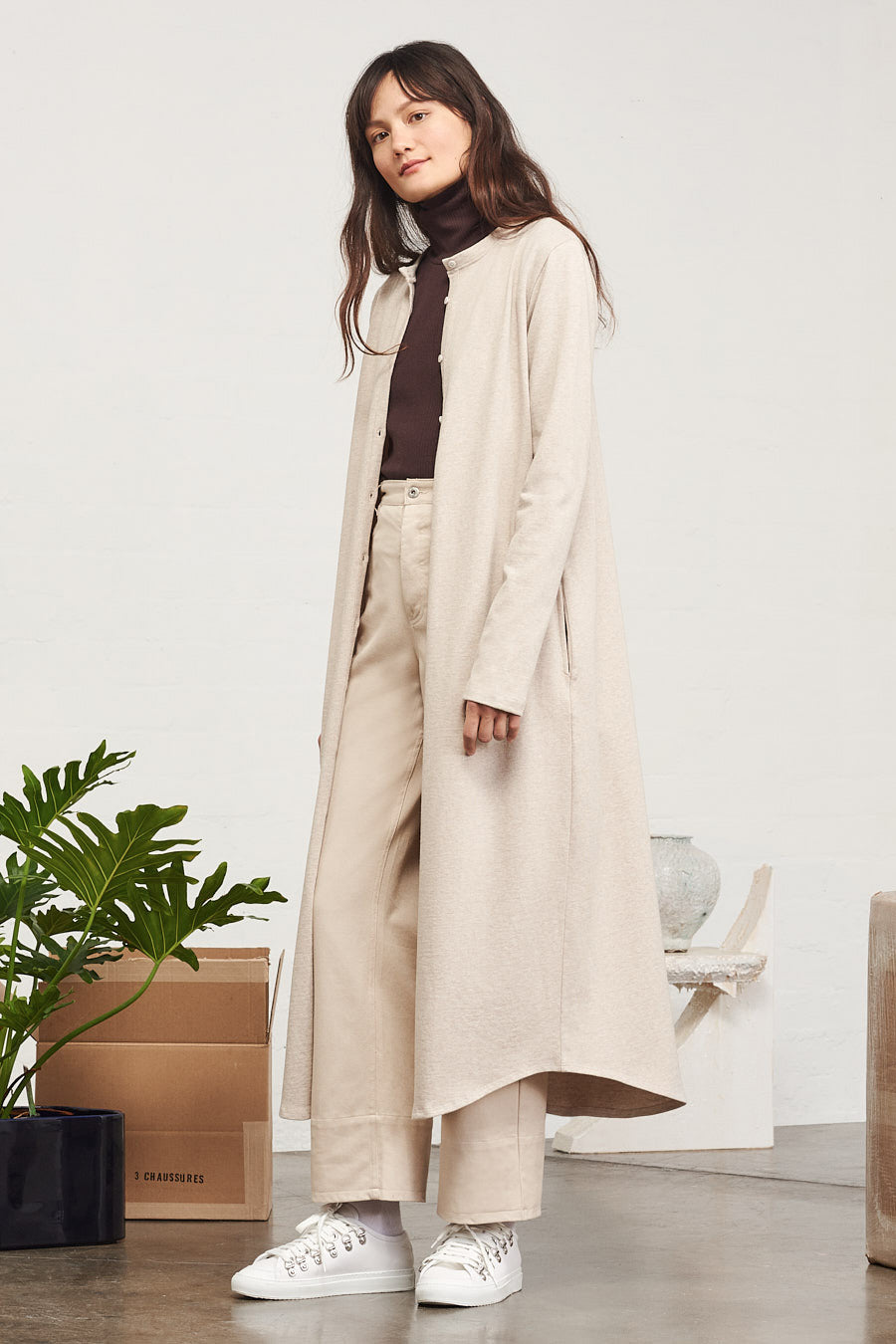 Building Block Long Cardigan, Natural Marle