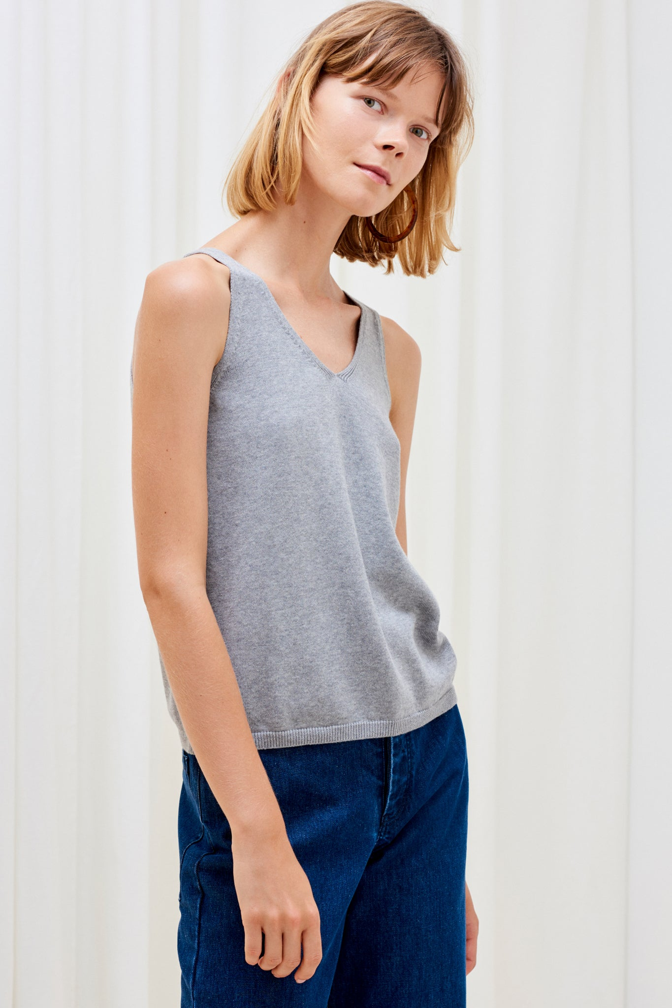 Knitted Singlet, Grey Marle
