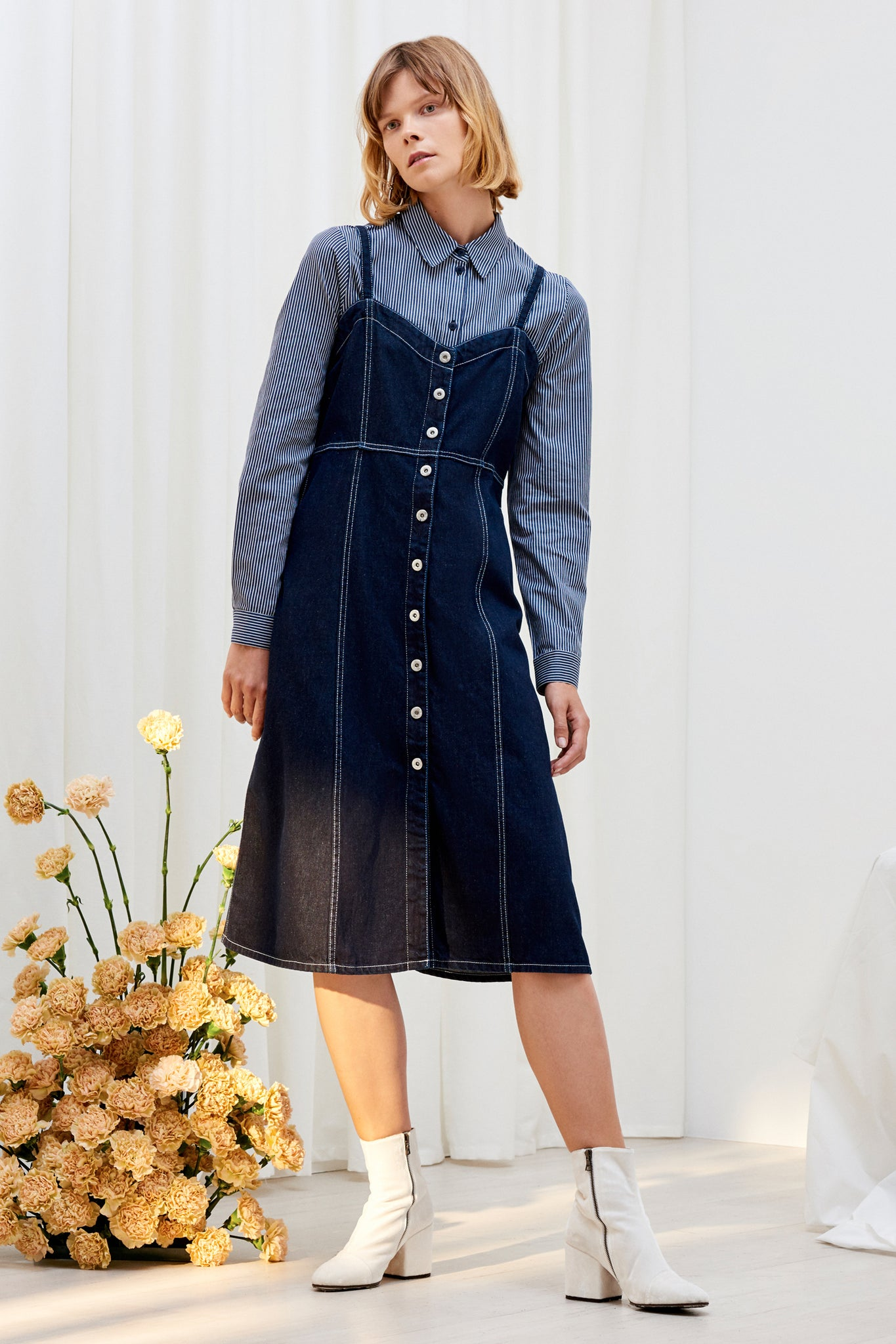 Panel Dress, Dark Denim