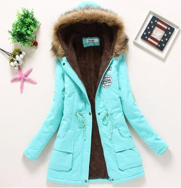 New winter women military coats cotton wadded hooded jacket.