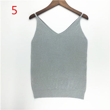 Hot Knitted Camis Beige Fitness Sweater Tank Tops.