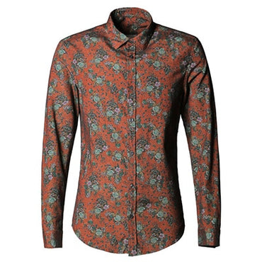 Men shirt Floral printing long sleeve shirts men clothes flowers printed shirt.