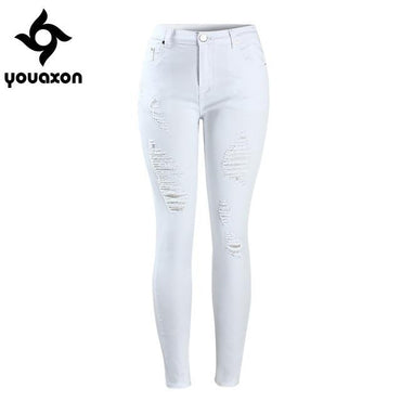 High Waist Stretch Denim Pants Ripped Skinny Jeans For Woman Jean.