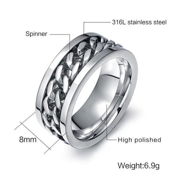 Punk Rock Accessories Stainless Steel Black Men.