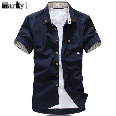 MarKyi plus size 5xl mushroom embroidery mens short sleeve.