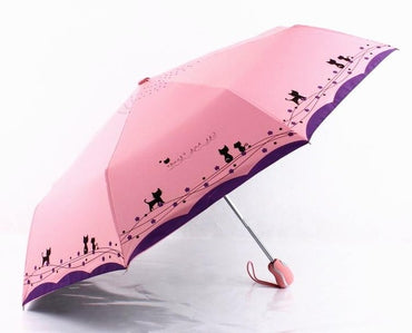 Flowers and Cat Umbrella Rain Women Windproof Ultralight Sun Rain Automatic Folding Umbrellas