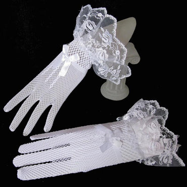 White Ivory Bridal Gloves Lace Finger Short Cheap Wedding Accessories.