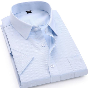 Men's Casual Dress Short Sleeved Shirt Twill White Blue Pink Black Male Slim Fit Shirt.