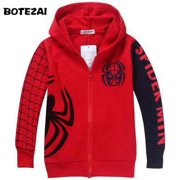 Retail New Style Spiderman Clothes boys hoodie jackets Kids cartoon spiderman coat.