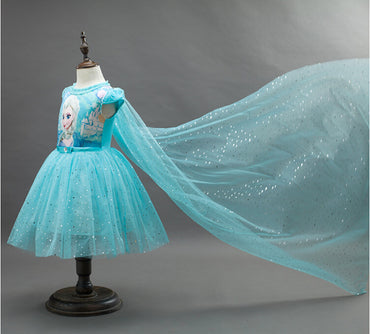 2017 New Anna Elsa Dress Kids Sofia Princess Party.