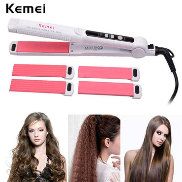 Professional Ceramic Hair Curler + Corn Plate +Hair Straightener Flat Iron