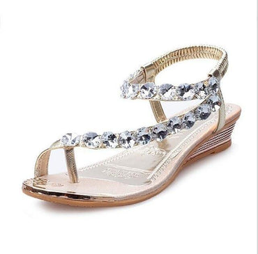 New Brand Women Rhinestone Summer Flat Sandals.