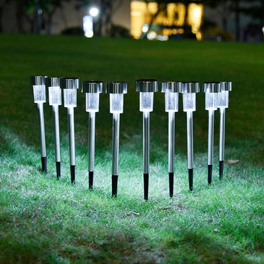 10pcs/lot Stainless Steel Solar Lawn Light For Garden Decorative 100% Solar Power Outdoor Solar Lamp Luminaria