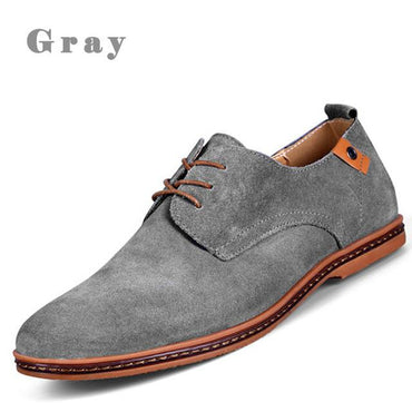 Men Shoes Casual Suede Leather Loafers Shoes Black.