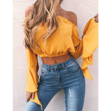 New Fashion Off Shoulder Crop Tops Summer Casual Loose Tops.